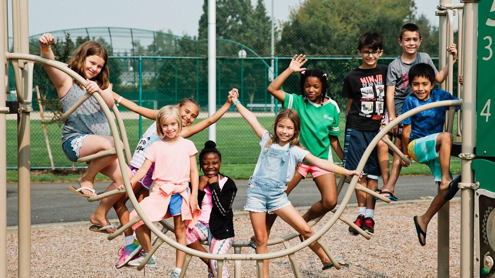 summer camp kids on playground in Dacca Park