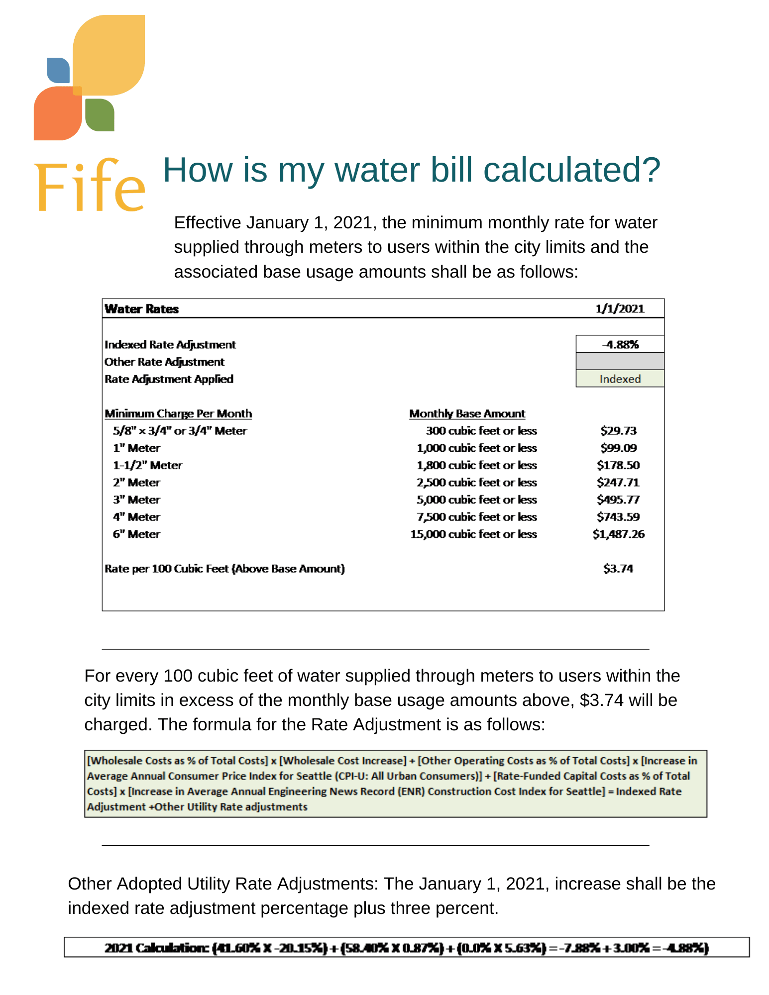 utility water bill rate calculation Jan 2021 image Opens in new window